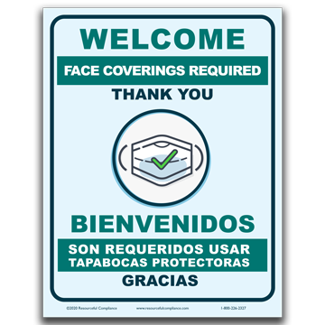 Welcome Face Coverings Required Sign (Bilingual)